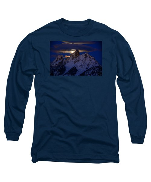 Full Moon Sets Over The Grand Teton Long Sleeve T-Shirt