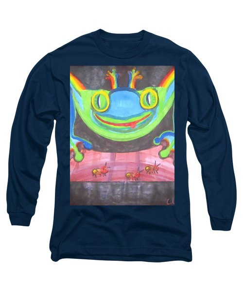 Long Sleeve T-Shirt featuring the painting Funky Frog by Cathy Long