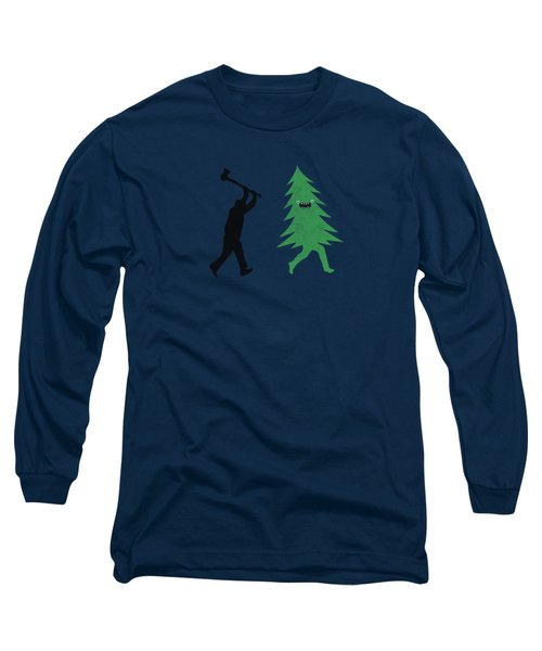 Funny Cartoon Christmas Tree Is Chased By Lumberjack Run Forrest Run Long Sleeve T-Shirt
