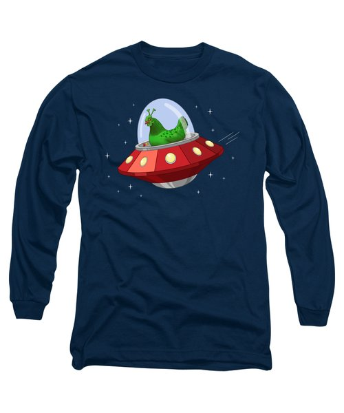 Funny Green Alien Martian Chicken In Flying Saucer Long Sleeve T-Shirt