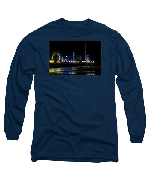Galveston Island Historic Pleasure Pier At Night Long Sleeve T-Shirt