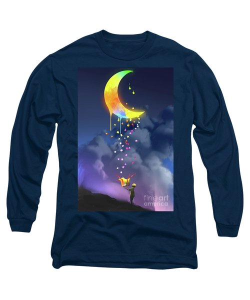 Long Sleeve T-Shirt featuring the painting Gifts From The Moon by Tithi Luadthong