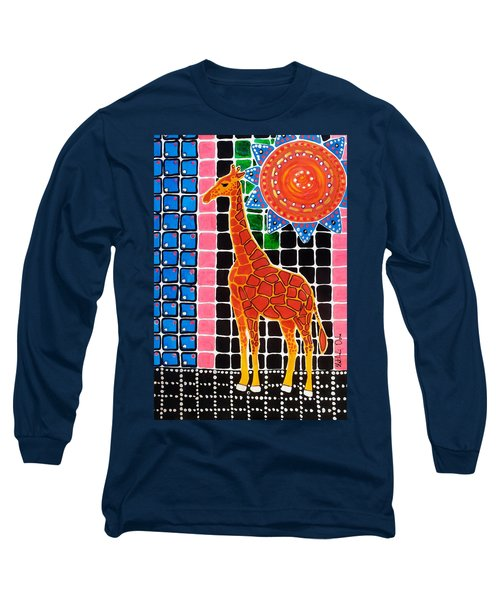 Long Sleeve T-Shirt featuring the painting Giraffe In The Bathroom - Art By Dora Hathazi Mendes by Dora Hathazi Mendes