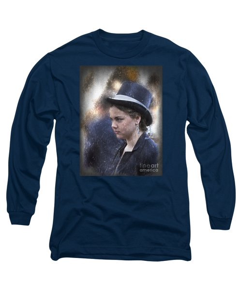 Long Sleeve T-Shirt featuring the photograph Girl In A Dark Blue Hat by Elaine Teague