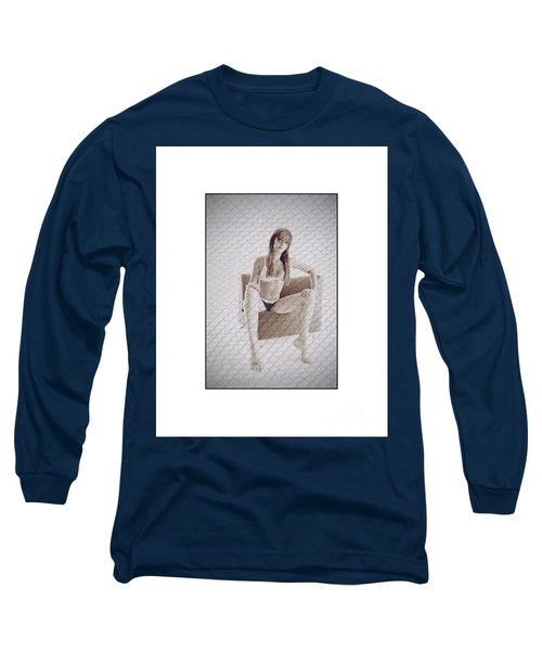 Girl In Underwear Sitting On A Chair Long Sleeve T-Shirt by Michael Edwards