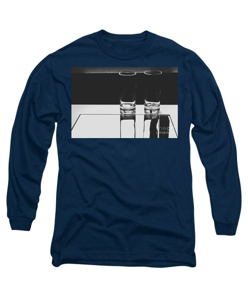 Glasses On A Table Bw Long Sleeve T-Shirt