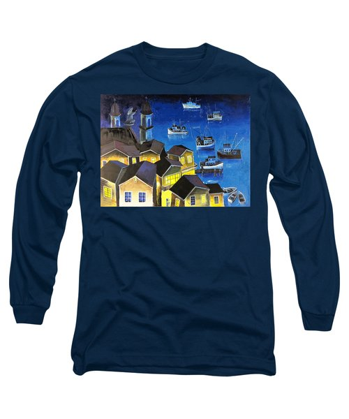 Long Sleeve T-Shirt featuring the painting Glouchester Harbor by Mikhail Zarovny