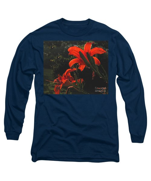 Long Sleeve T-Shirt featuring the photograph Glowing Day Lilies by Donna Brown