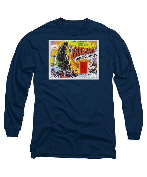 Godzilla King Of The Monsters An Enraged Monster Wipes Out An Entire City Vintage Movie Poster Long Sleeve T-Shirt