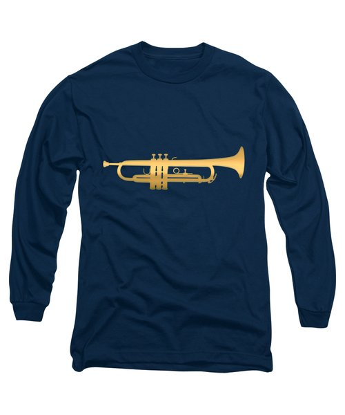Gold Embossed Trumpet On Dark Midnight Blue Background Long Sleeve T-Shirt