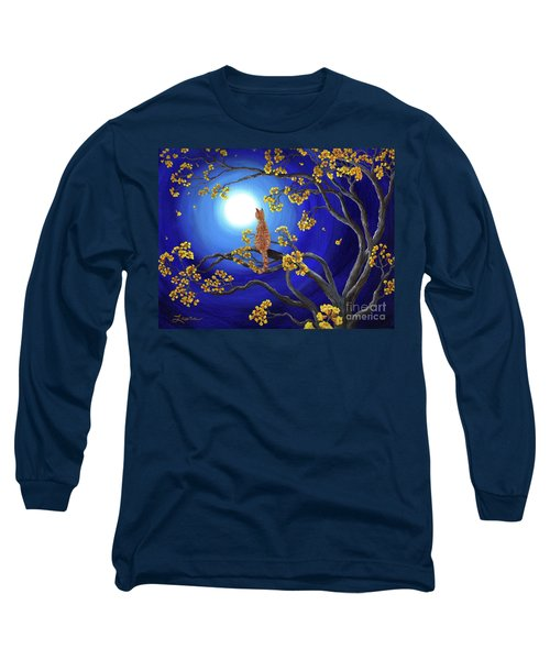 Golden Flowers In Moonlight Long Sleeve T-Shirt