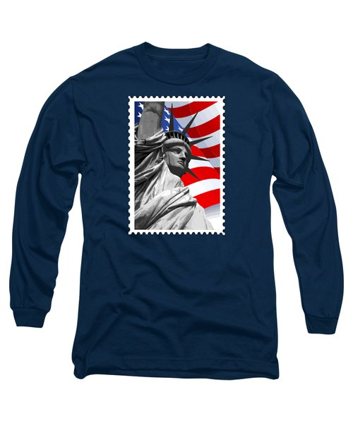 Graphic Statue Of Liberty With American Flag Long Sleeve T-Shirt by Elaine Plesser
