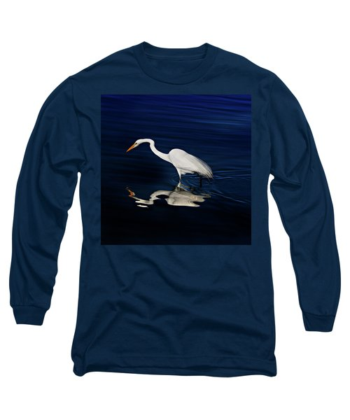 Great Egret-self Reflections Long Sleeve T-Shirt