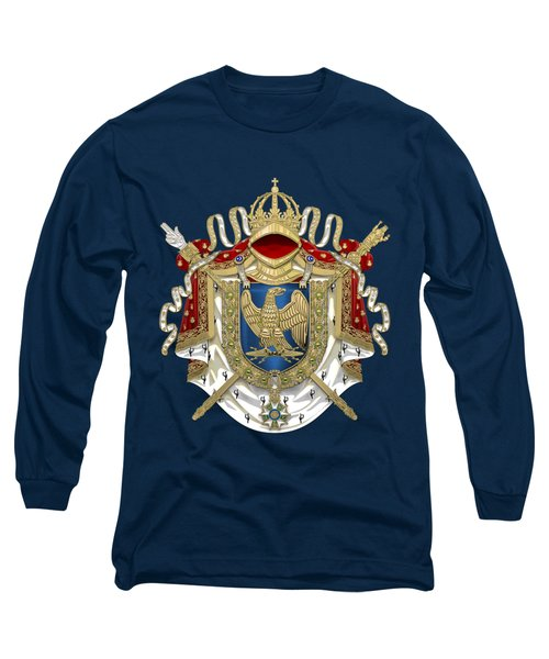 Greater Coat Of Arms Of The First French Empire Over Blue Velvet Long Sleeve T-Shirt