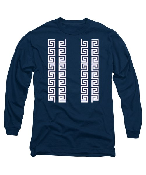 Greek Pattern - Chuck Staley Long Sleeve T-Shirt by Chuck Staley