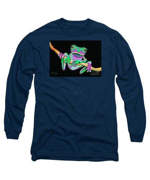 Green And Pink Frog Long Sleeve T-Shirt by Nick Gustafson