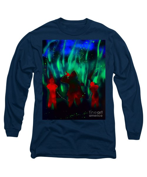 Green Flames In The Night Long Sleeve T-Shirt by Justin Moore