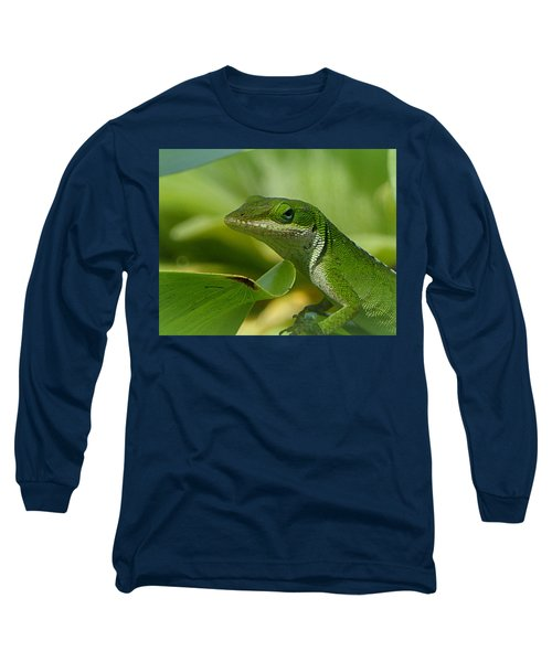 Green Gecko On Green Leaves Long Sleeve T-Shirt by Lori Seaman