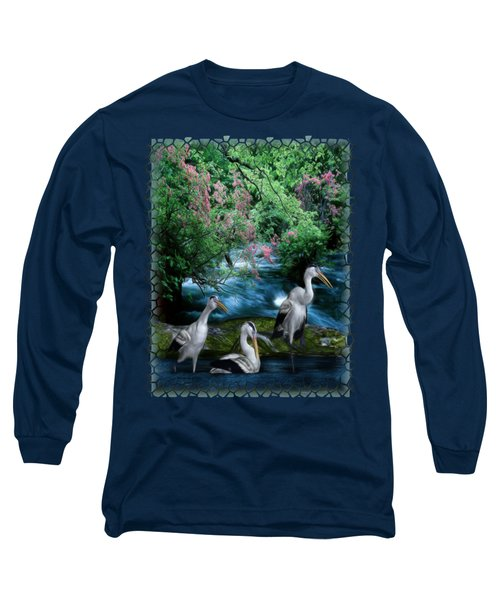 Grey Heron Point Long Sleeve T-Shirt by Sharon and Renee Lozen