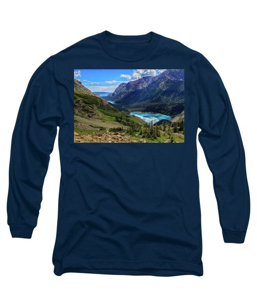 Grinell Hike In Glacier National Park Long Sleeve T-Shirt by Andres Leon