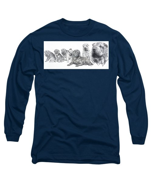Long Sleeve T-Shirt featuring the drawing Growing Up Chinese Shar-pei by Barbara Keith