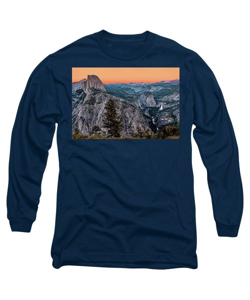 Halfdome And The Waterfalls At Sunset Long Sleeve T-Shirt