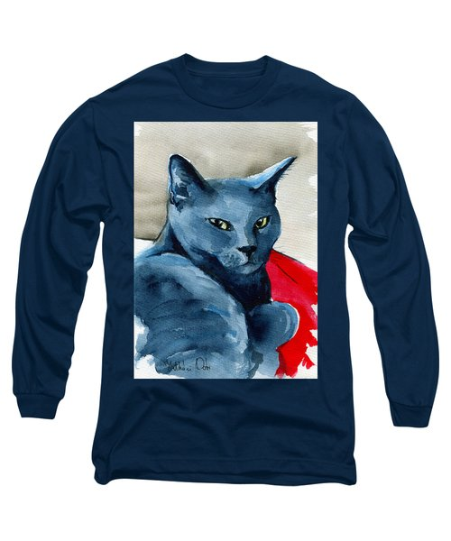 Handsome Russian Blue Cat Long Sleeve T-Shirt