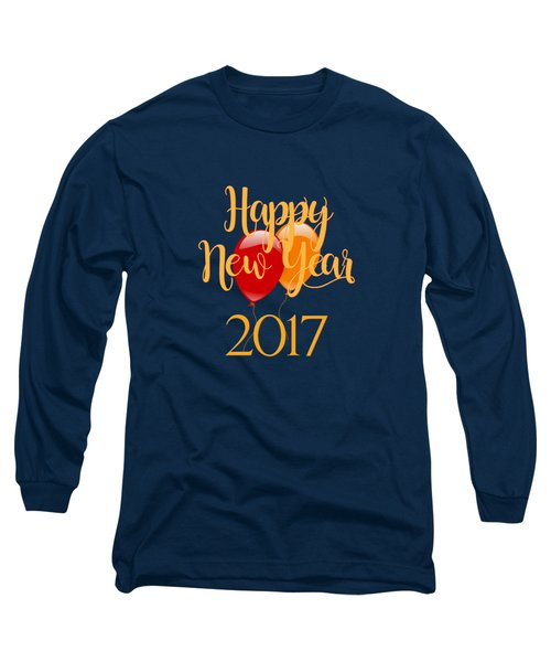 Long Sleeve T-Shirt featuring the digital art Happy New Year 2017 With Balloons by Heidi Hermes