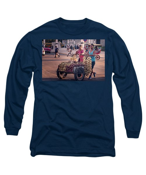 Long Sleeve T-Shirt featuring the photograph Havana Cuba Onion Cart by Joan Carroll