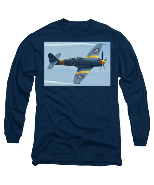 Long Sleeve T-Shirt featuring the photograph Hawker Sea Fury T20 N924g Chino California April 30 2016 by Brian Lockett