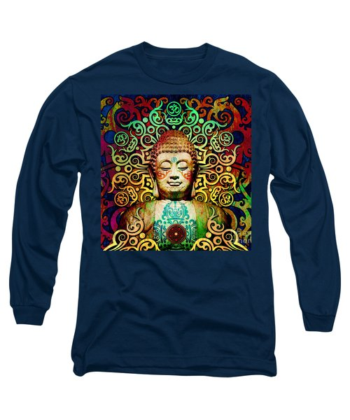 Heart Of Transcendence - Colorful Tribal Buddha Long Sleeve T-Shirt by Christopher Beikmann