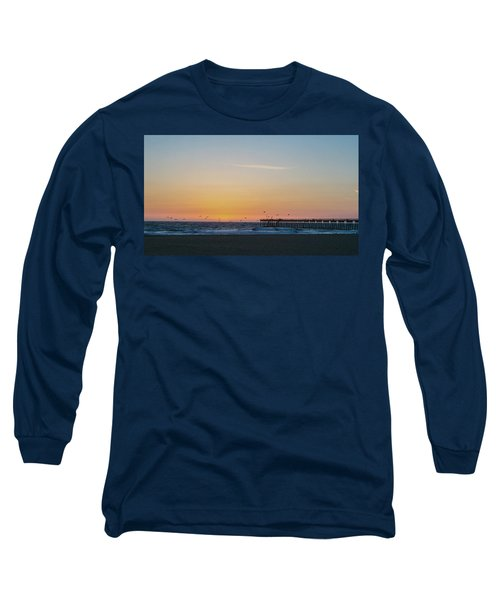 Hermosa Beach Pier At Sunset With Seagulls Long Sleeve T-Shirt by Mark Barclay