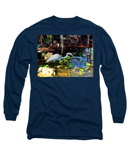 Long Sleeve T-Shirt featuring the painting Heron In Quiet Pool by David  Van Hulst