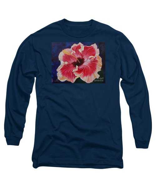 Long Sleeve T-Shirt featuring the painting Hibiscus by Jenny Lee