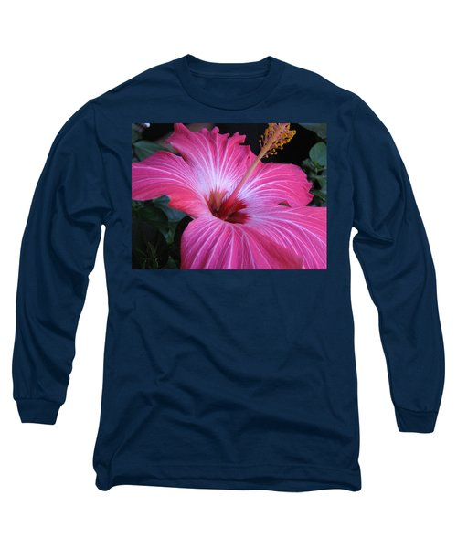 Hibiscus Photograph Long Sleeve T-Shirt by Barbara Yearty