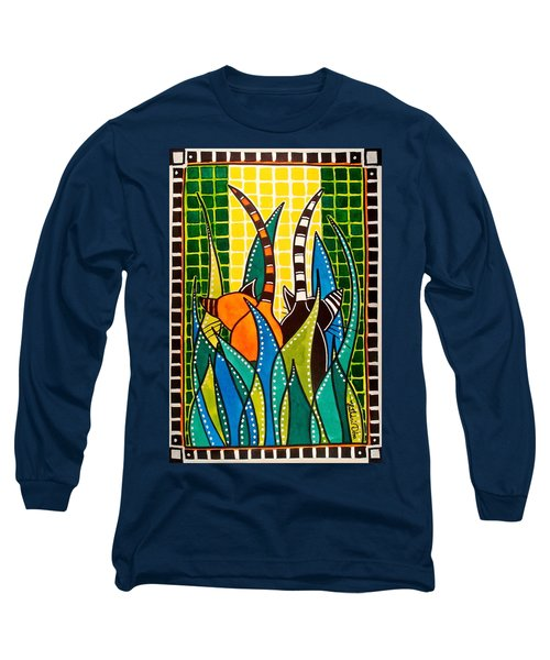 Long Sleeve T-Shirt featuring the painting Hide And Seek - Cat Art By Dora Hathazi Mendes by Dora Hathazi Mendes