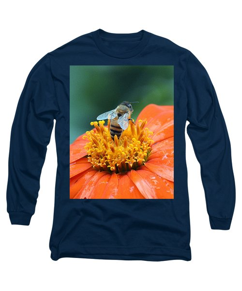 Honeybee On Orange Flower Long Sleeve T-Shirt