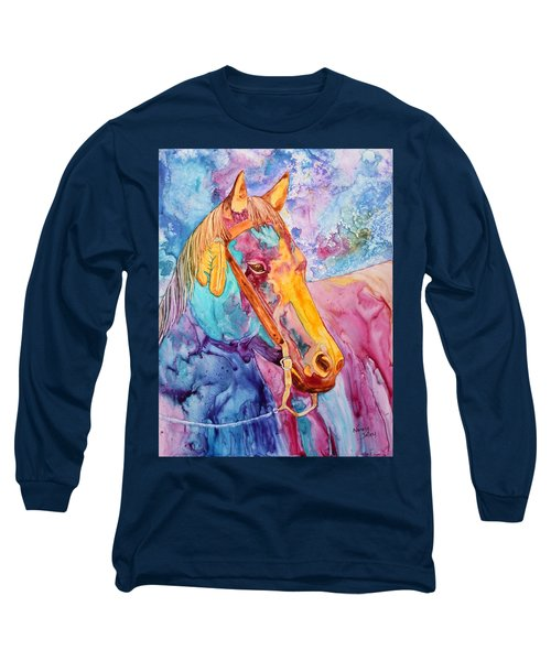 Horse Of Many Colors Long Sleeve T-Shirt by Nancy Jolley