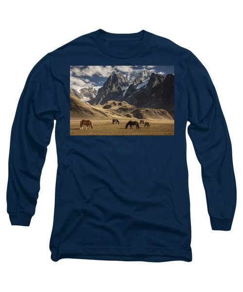 Horses Grazing Under Siula Grande Long Sleeve T-Shirt
