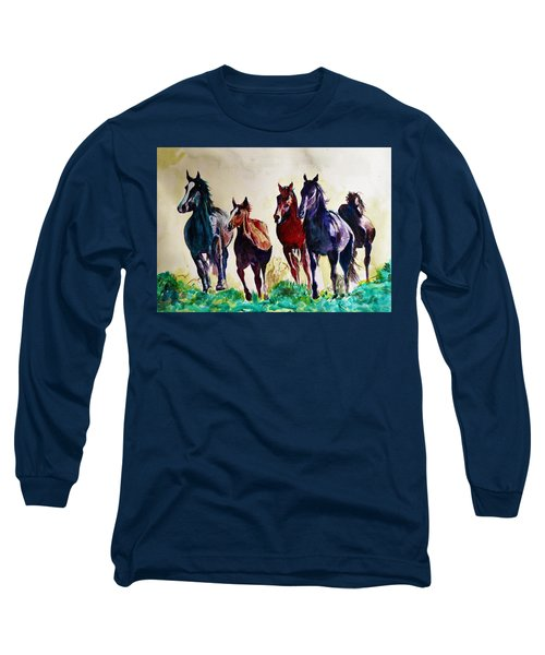 Horses In Wild Long Sleeve T-Shirt