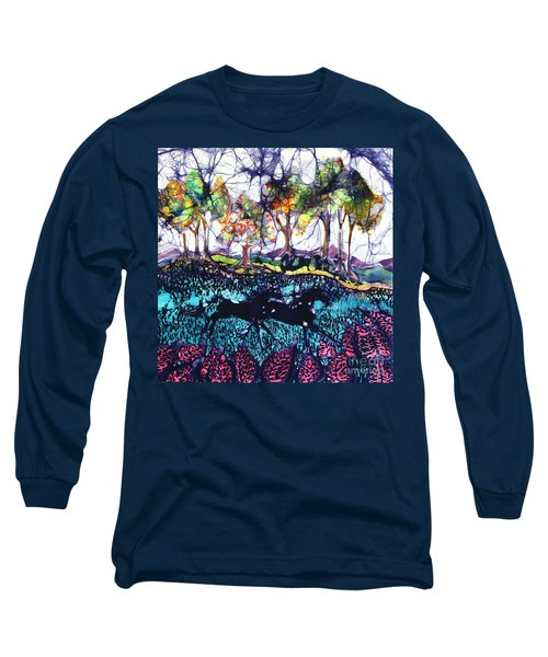 Horses Running Below Hills Long Sleeve T-Shirt