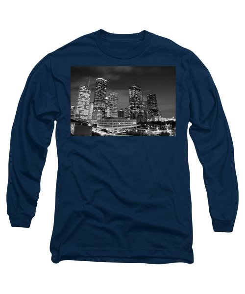 Houston By Night In Black And White Long Sleeve T-Shirt