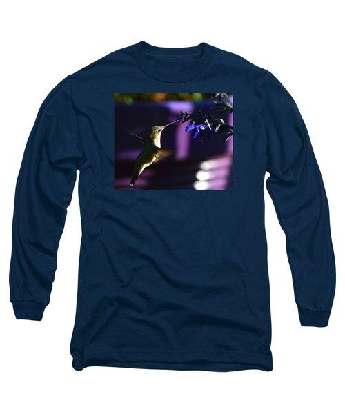 Hummingbird And Blue Flower Long Sleeve T-Shirt