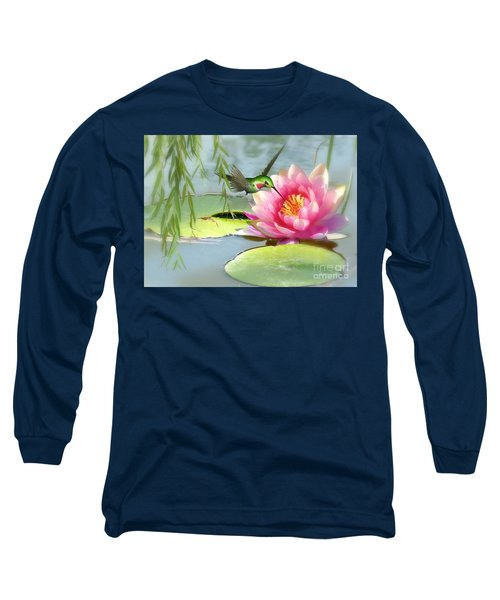 Hummingbird And Water Lily Long Sleeve T-Shirt