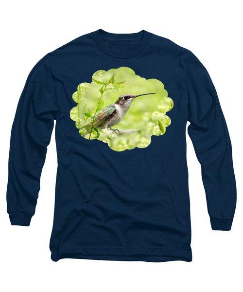 Hummingbird Hiding In Flowers Long Sleeve T-Shirt by Christina Rollo