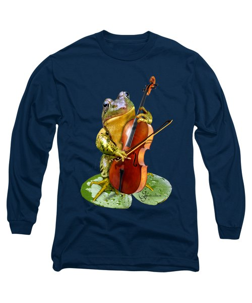 Humorous Scene Frog Playing Cello In Lily Pond Long Sleeve T-Shirt by Regina Femrite