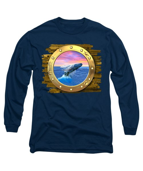 Humpback Whale Breaching At Sunset Long Sleeve T-Shirt by Glenn Holbrook