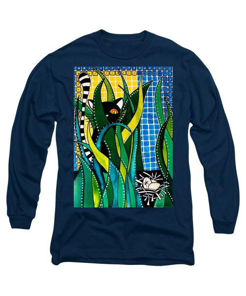 Hunter In Camouflage - Cat Art By Dora Hathazi Mendes Long Sleeve T-Shirt by Dora Hathazi Mendes