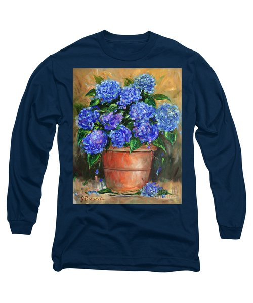 Long Sleeve T-Shirt featuring the painting Hydrangeas In Pot by Jennifer Beaudet