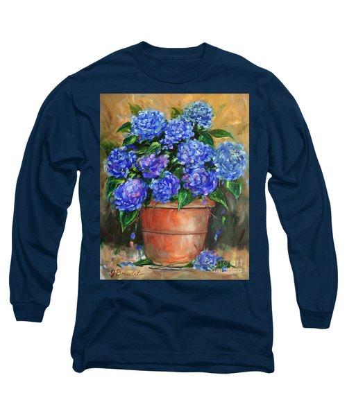Hydrangeas In Pot Long Sleeve T-Shirt by Jennifer Beaudet